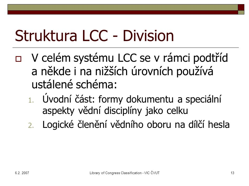 Struktura LCC - Division
