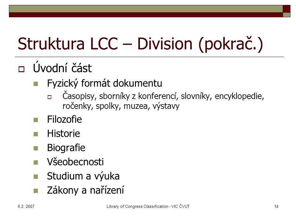 Struktura LCC – Division (pokrač.)