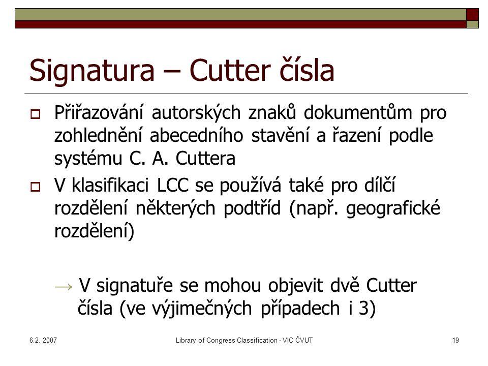 Signatura – Cutter čísla
