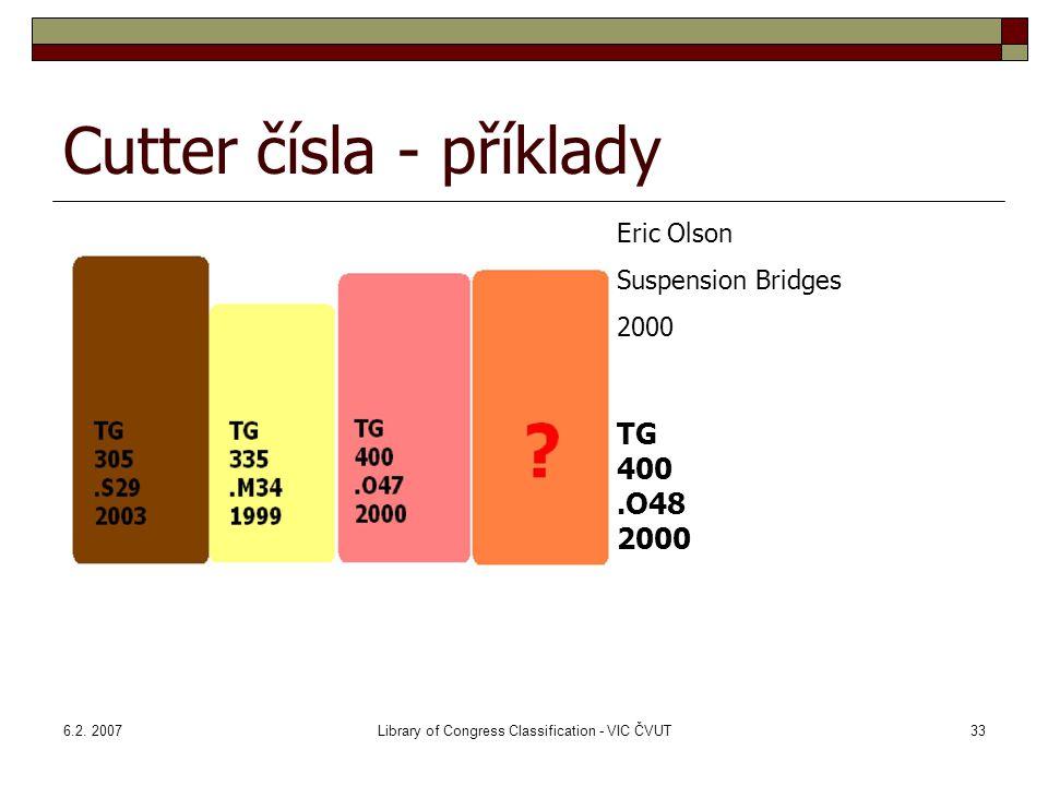 Cutter čísla - příklady