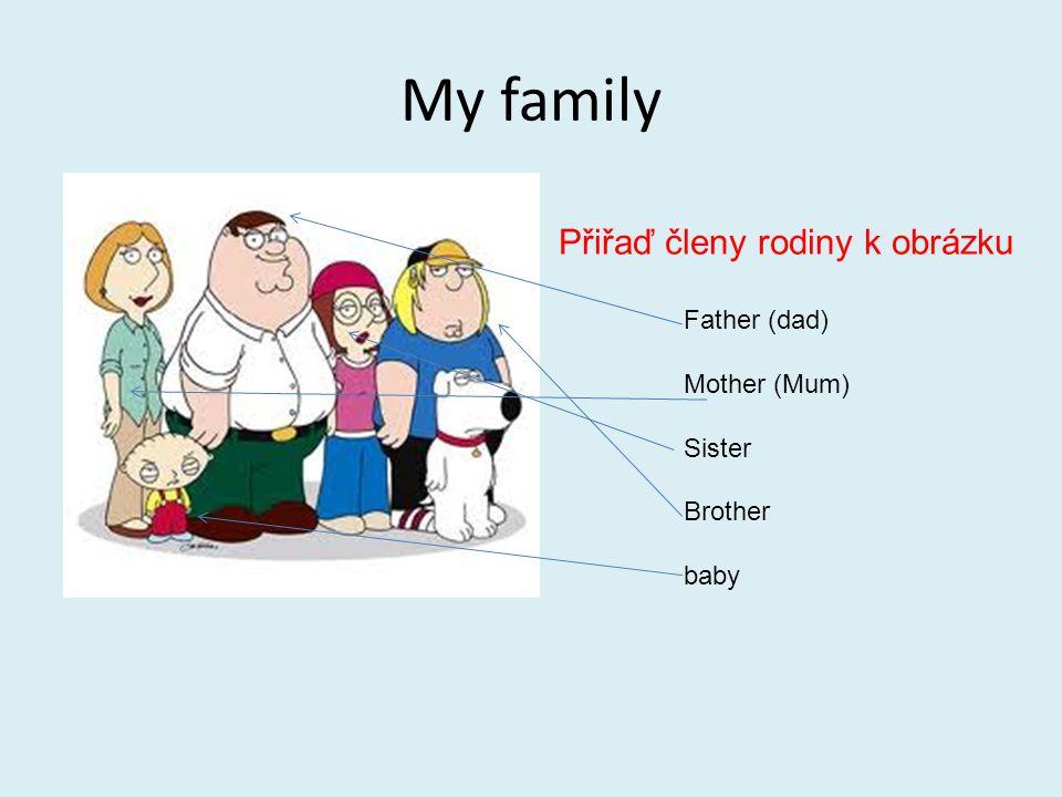 My family Přiřaď členy rodiny k obrázku Father (dad) Mother (Mum)