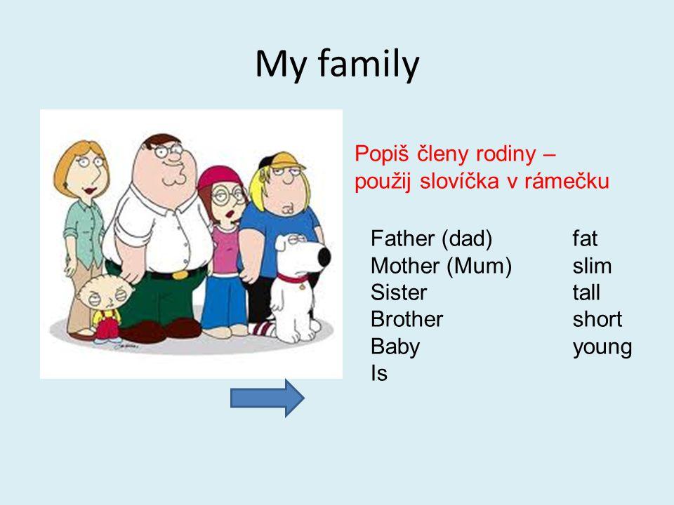My family Popiš členy rodiny – použij slovíčka v rámečku