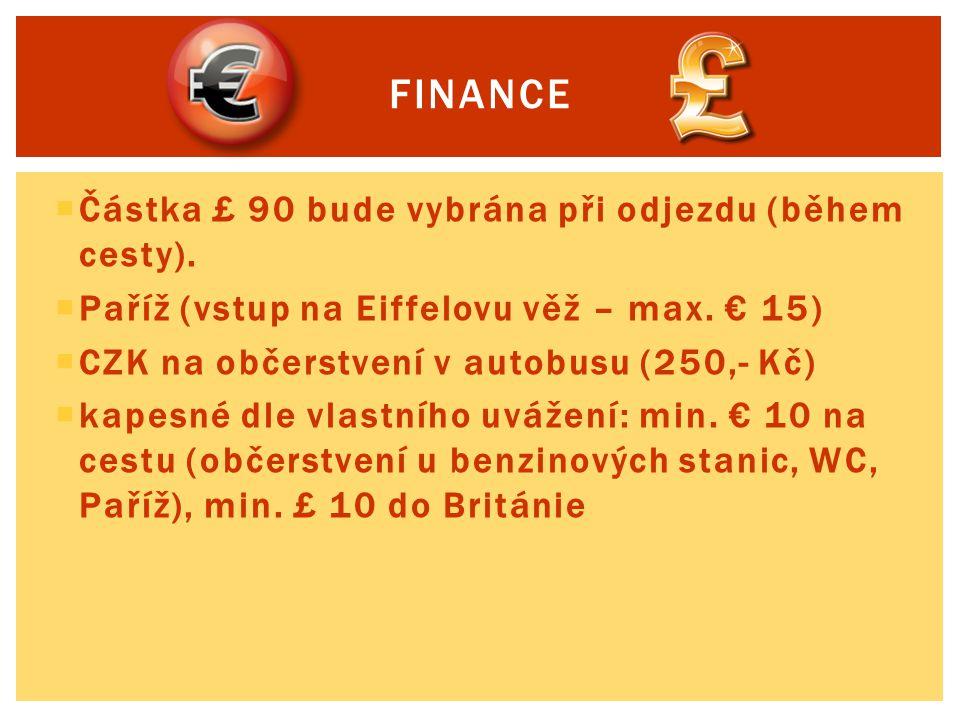 finance Částka £ 90 bude vybrána při odjezdu (během cesty).
