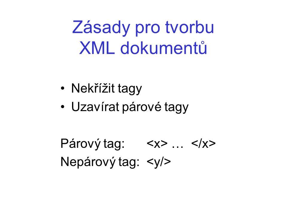 Zásady pro tvorbu XML dokumentů