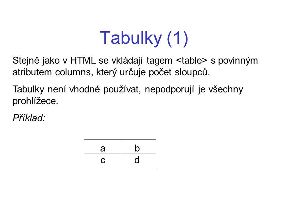 Tabulky (1) Stejně jako v HTML se vkládají tagem <table> s povinným atributem columns, který určuje počet sloupců.