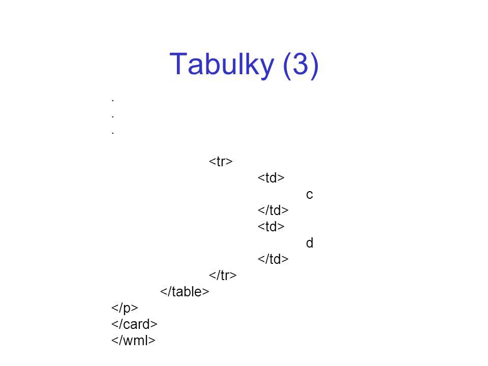 Tabulky (3) . <tr> <td> c </td> d </tr>