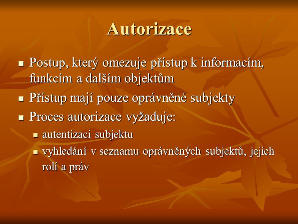 Autorizace Postup, který omezuje přístup k informacím, funkcím a dalším objektům. Přístup mají pouze oprávněné subjekty.