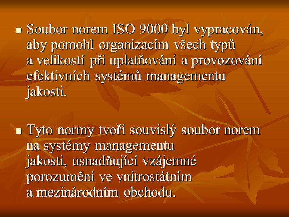 Soubor norem ISO 9000 byl vypracován, aby pomohl organizacím všech typů a velikostí při uplatňování a provozování efektivních systémů managementu jakosti.