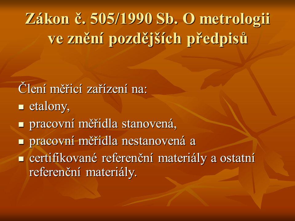 Zákon č. 505/1990 Sb. O metrologii ve znění pozdějších předpisů