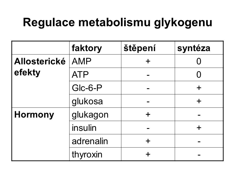 Regulace metabolismu glykogenu