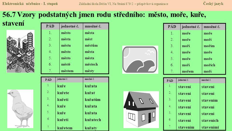 56.7 Vzory podstatných jmen rodu středního: město, moře, kuře, stavení
