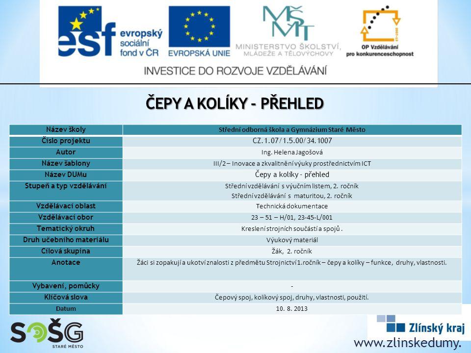 Čepy a kolíky - přehled www.zlinskedumy. cz Název školy