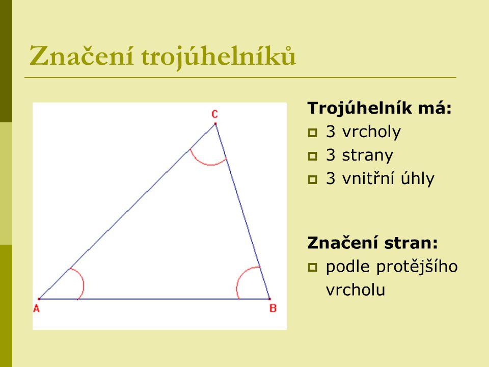 Značení trojúhelníků Trojúhelník má: 3 vrcholy 3 strany 3 vnitřní úhly