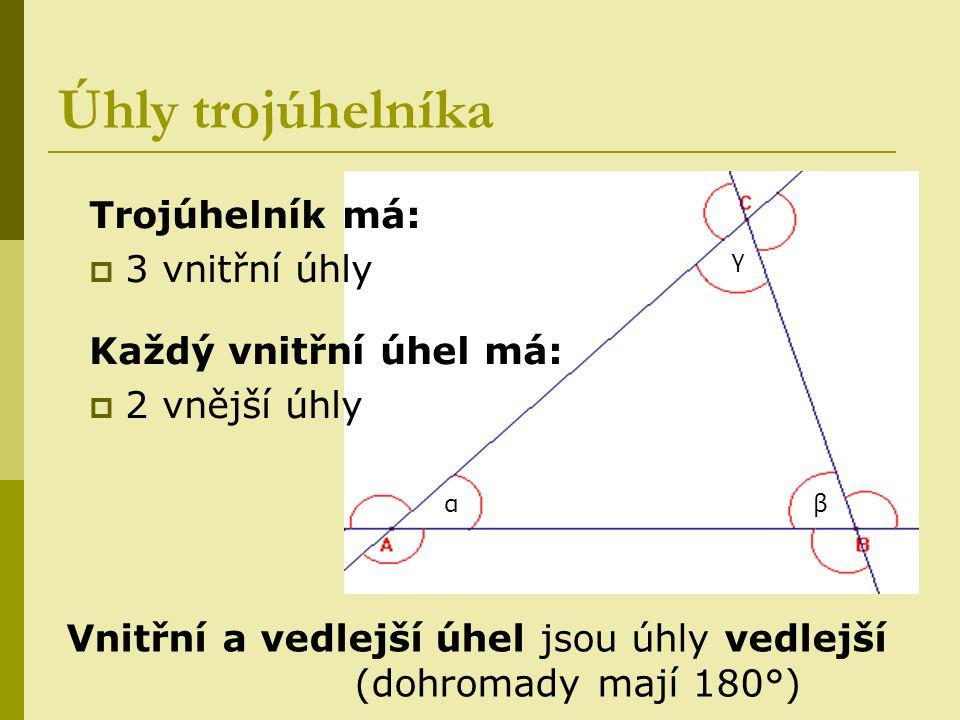 Úhly trojúhelníka Trojúhelník má: 3 vnitřní úhly
