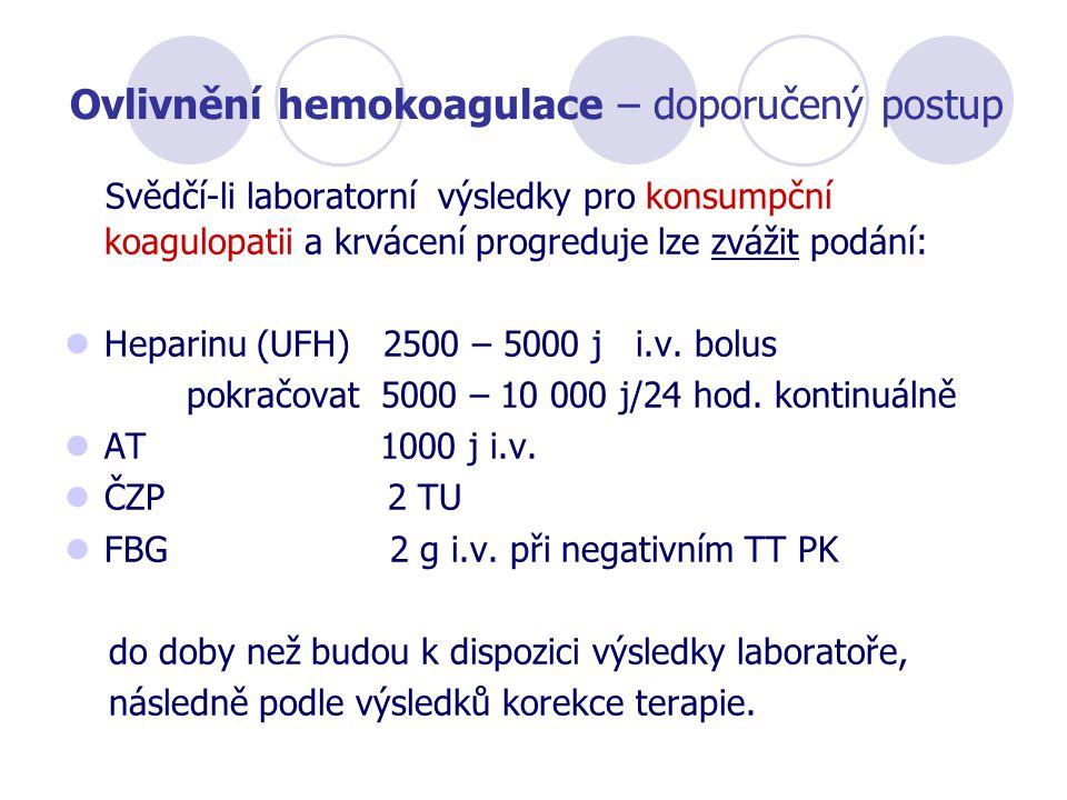 Ovlivnění hemokoagulace – doporučený postup
