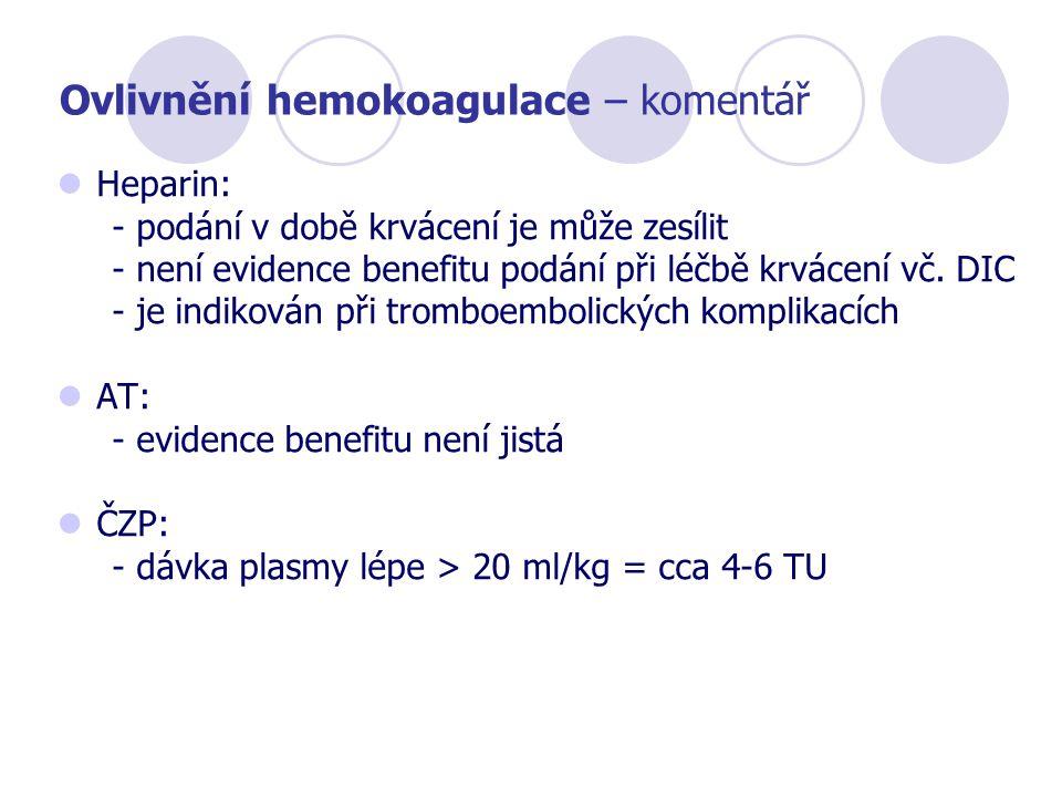 Ovlivnění hemokoagulace – komentář