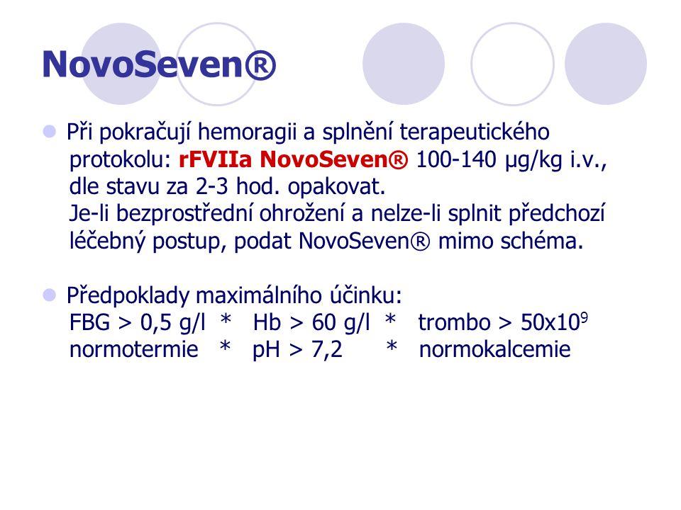 NovoSeven® Při pokračují hemoragii a splnění terapeutického