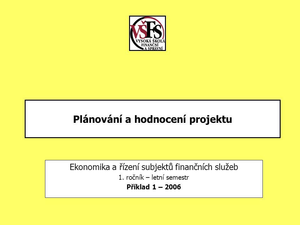 Plánování a hodnocení projektu