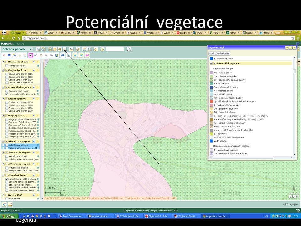 Potenciální vegetace Mapomat Mapa potenciální vegetace