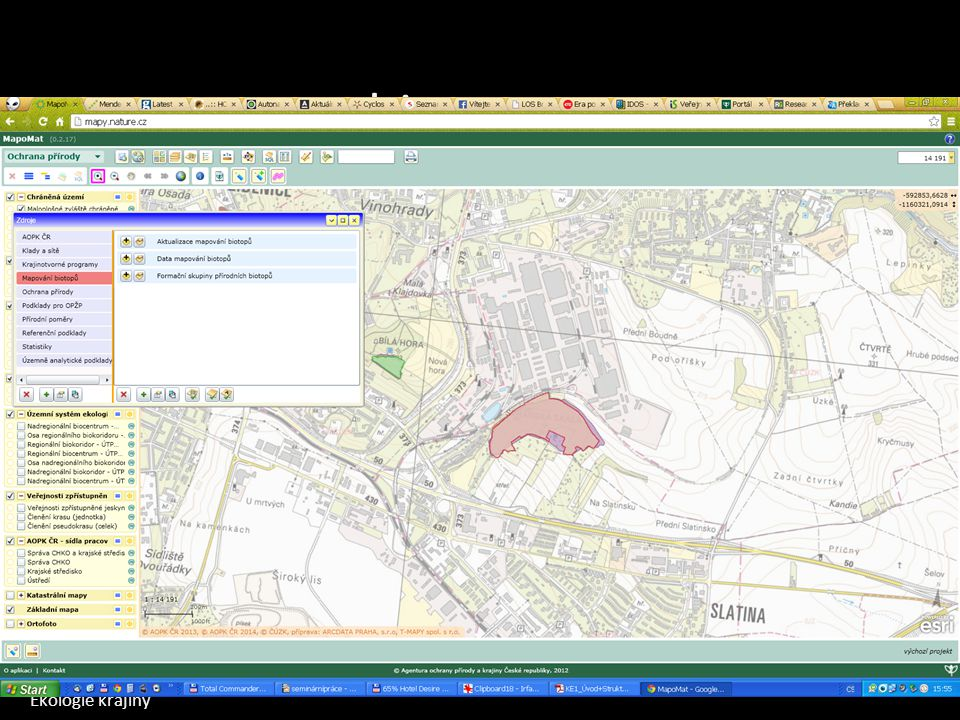 biotopy Mapomat Mapa potenciální vegetace Mapa současné vegetace