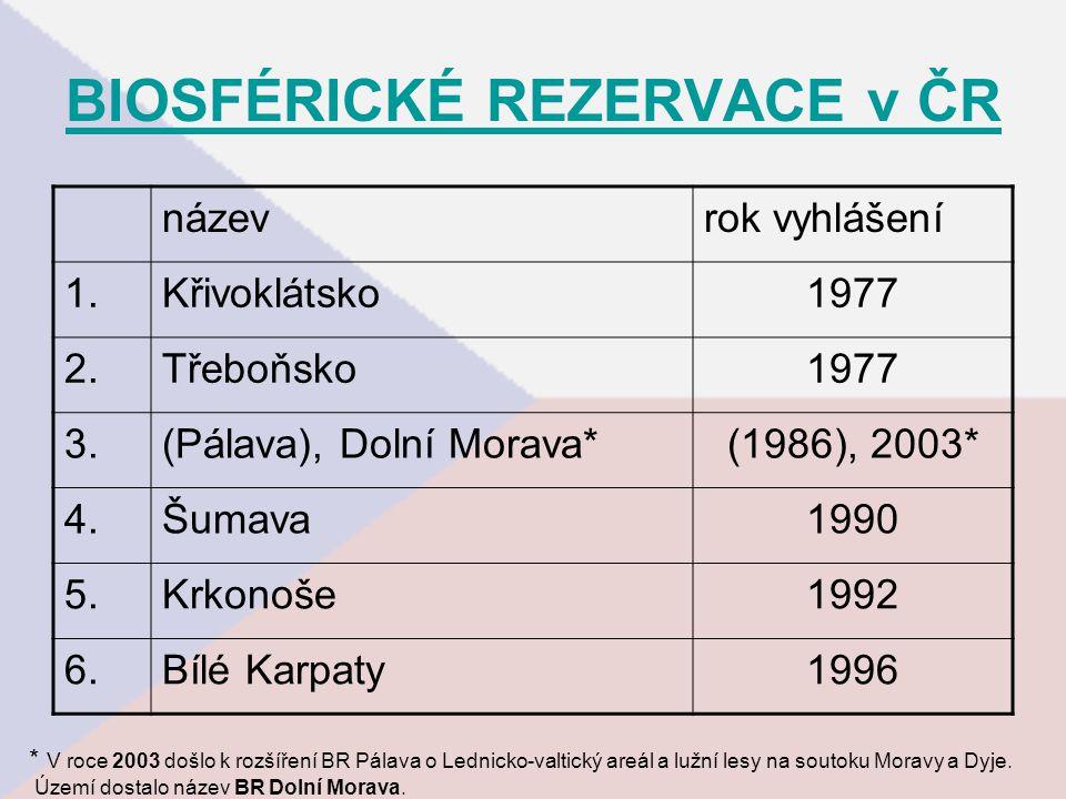 BIOSFÉRICKÉ REZERVACE v ČR