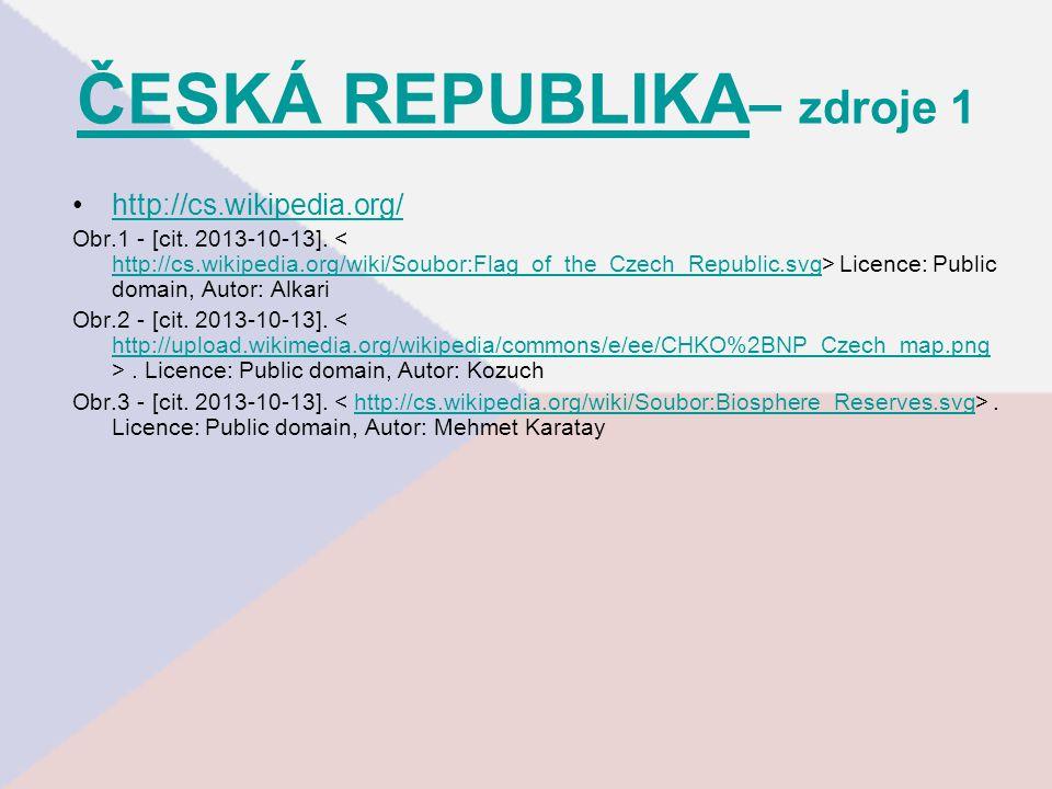 ČESKÁ REPUBLIKA– zdroje 1