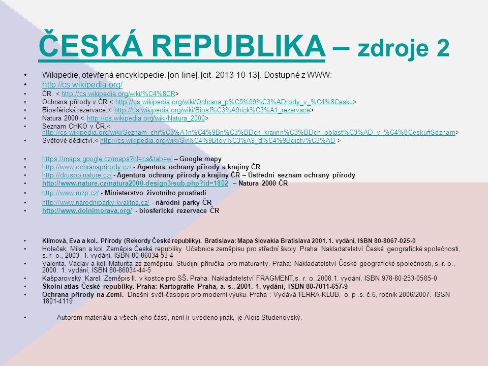 ČESKÁ REPUBLIKA – zdroje 2