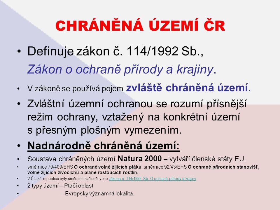CHRÁNĚNÁ ÚZEMÍ ČR Definuje zákon č. 114/1992 Sb.,