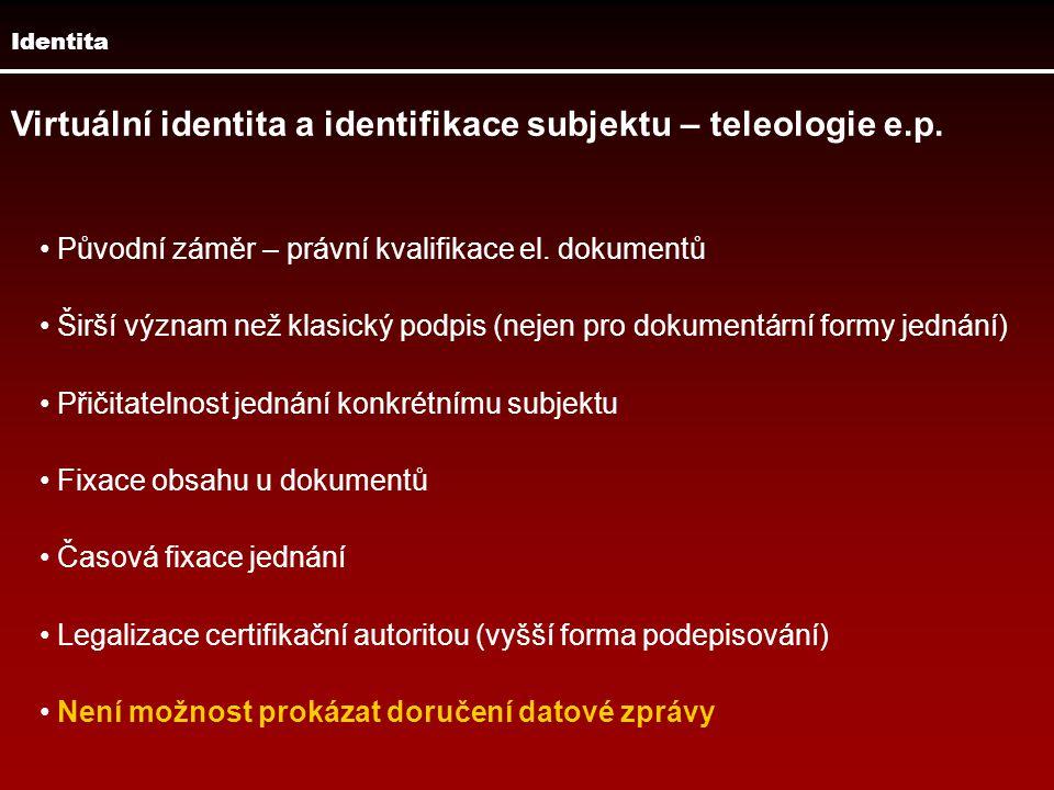 Virtuální identita a identifikace subjektu – teleologie e.p.