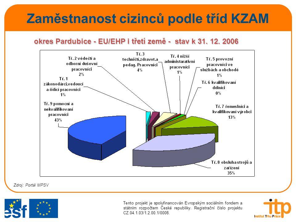 Zaměstnanost cizinců podle tříd KZAM