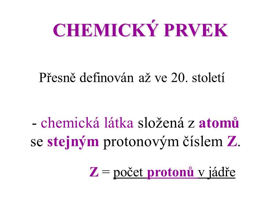 - chemická látka složená z atomů se stejným protonovým číslem Z.