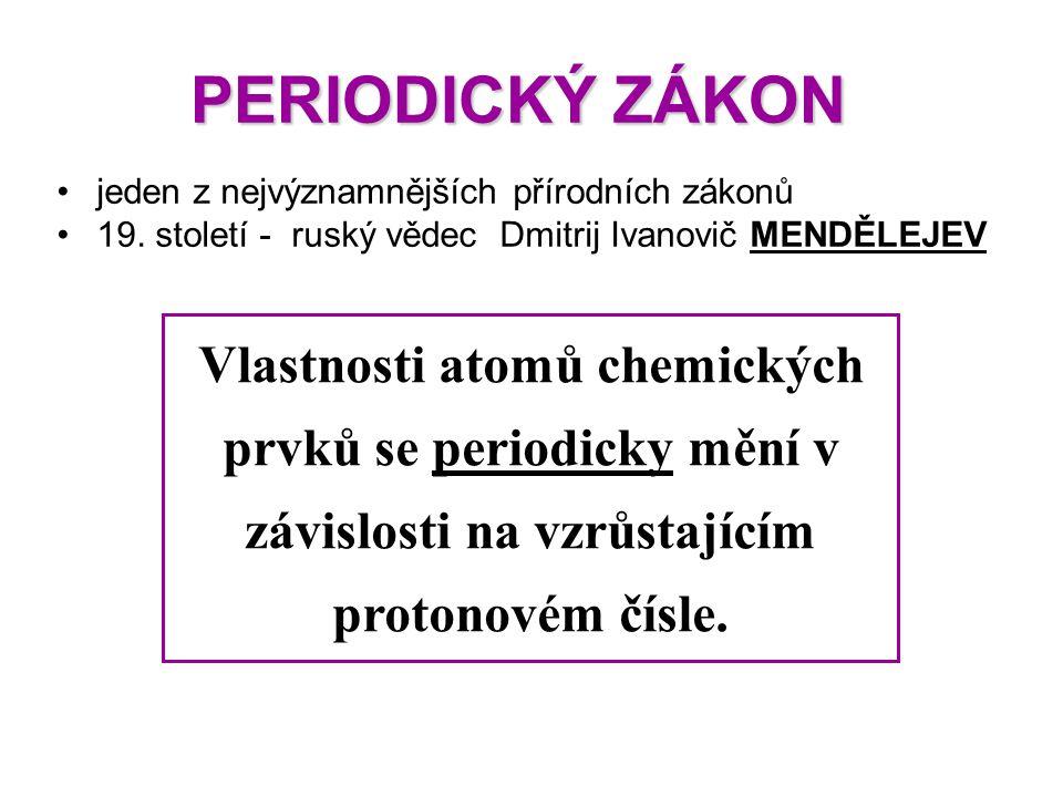 PERIODICKÝ ZÁKON jeden z nejvýznamnějších přírodních zákonů. 19. století - ruský vědec Dmitrij Ivanovič MENDĚLEJEV.