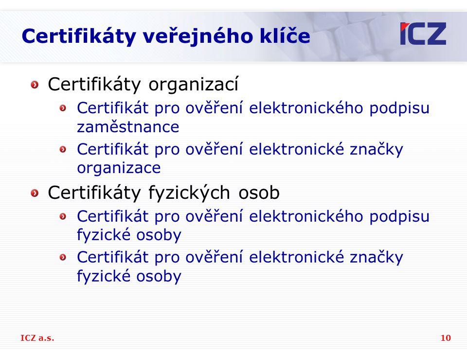 Certifikáty veřejného klíče