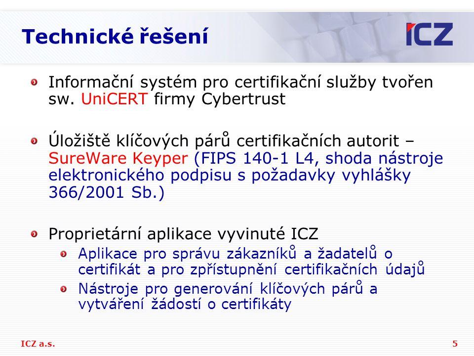 Technické řešení Informační systém pro certifikační služby tvořen sw. UniCERT firmy Cybertrust.