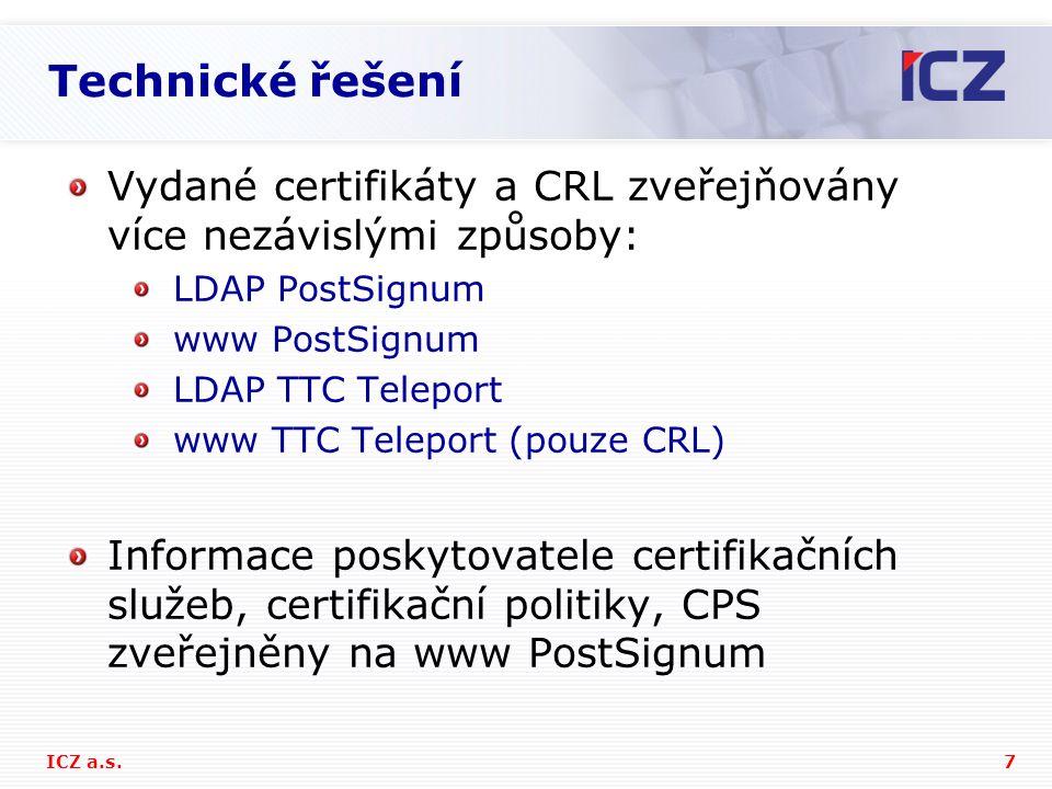 Technické řešení Vydané certifikáty a CRL zveřejňovány více nezávislými způsoby: LDAP PostSignum. www PostSignum.