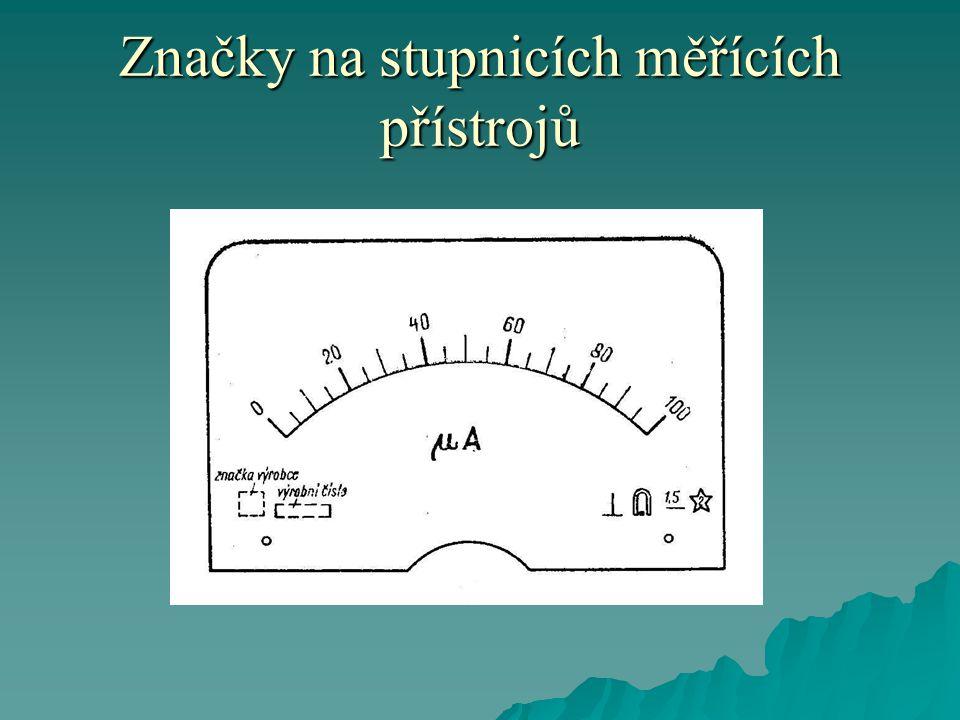 Značky na stupnicích měřících přístrojů