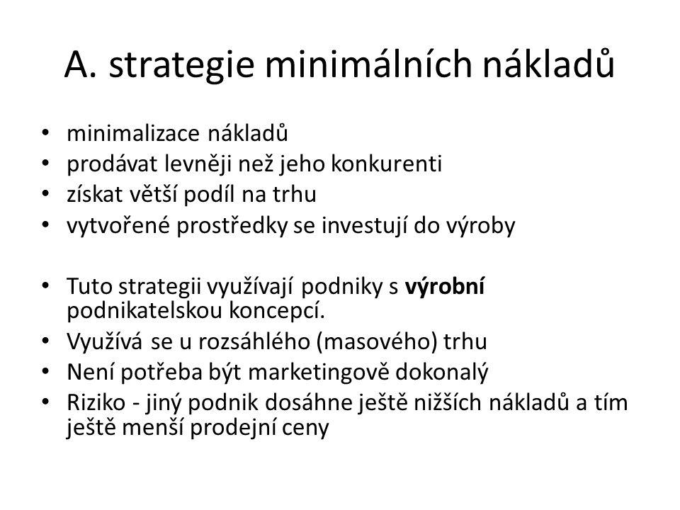 A. strategie minimálních nákladů