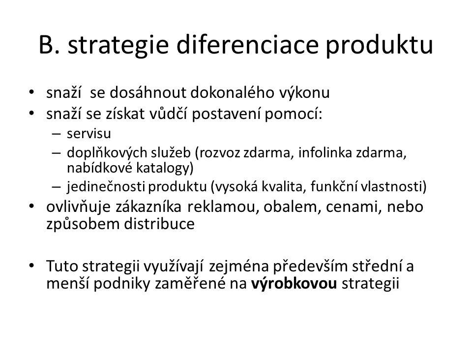 B. strategie diferenciace produktu