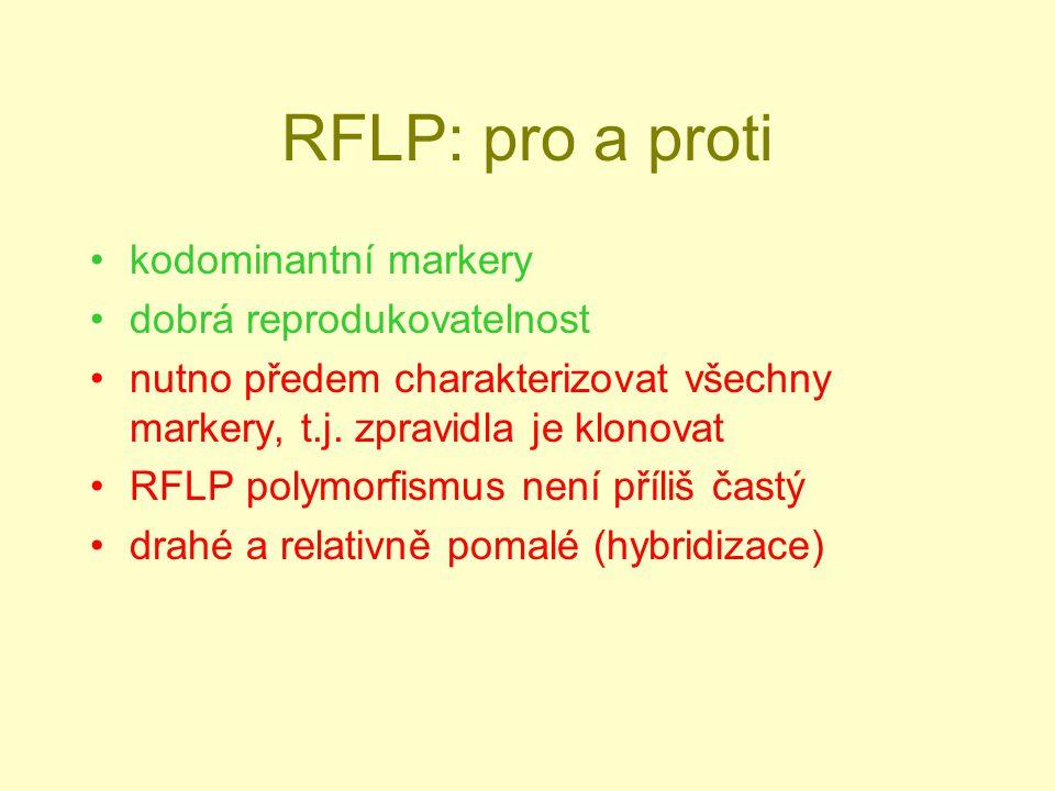 RFLP: pro a proti kodominantní markery dobrá reprodukovatelnost