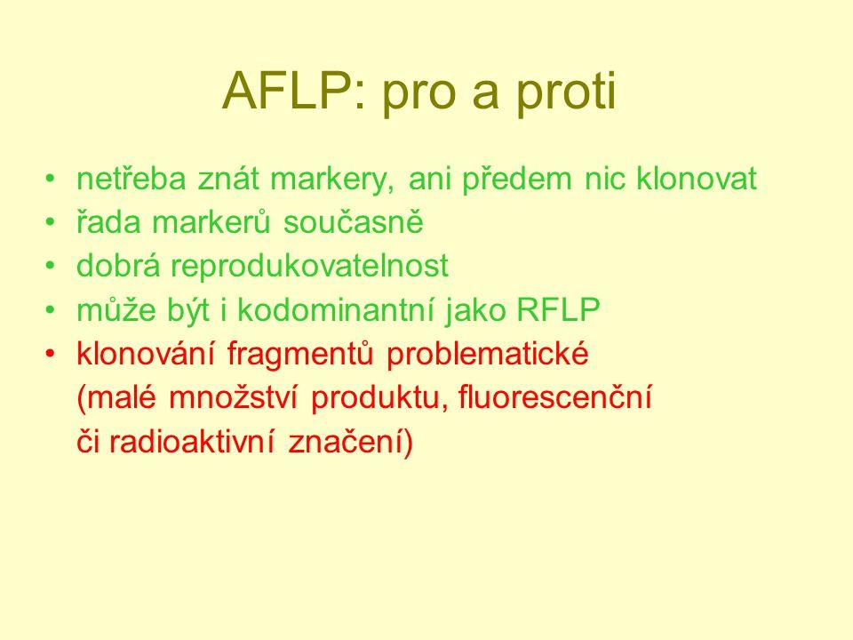 AFLP: pro a proti netřeba znát markery, ani předem nic klonovat