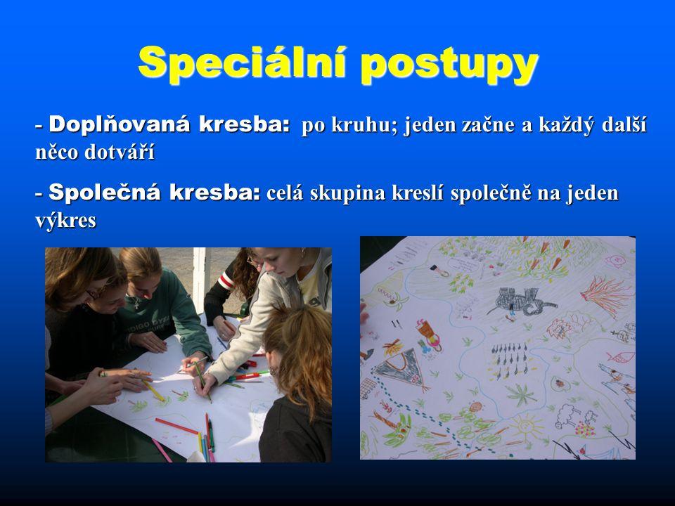 Speciální postupy - Doplňovaná kresba: po kruhu; jeden začne a každý další něco dotváří.