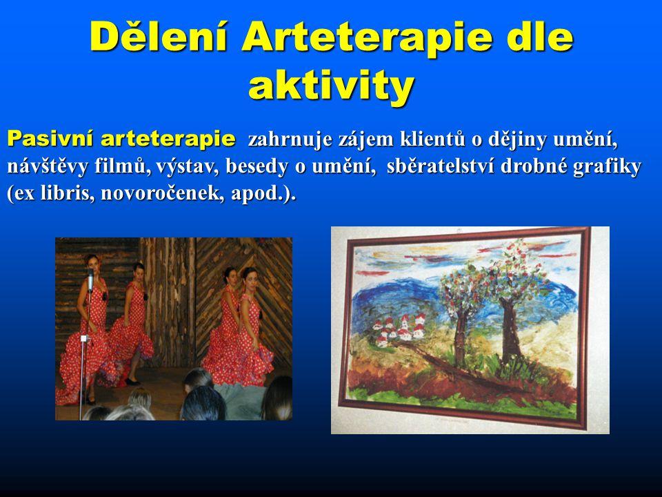 Dělení Arteterapie dle aktivity