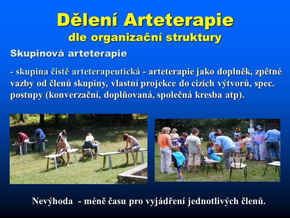 Dělení Arteterapie dle organizační struktury