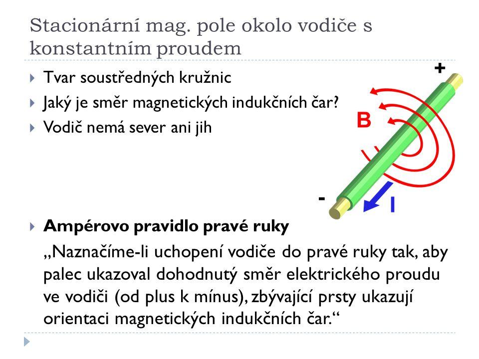 Stacionární mag. pole okolo vodiče s konstantním proudem