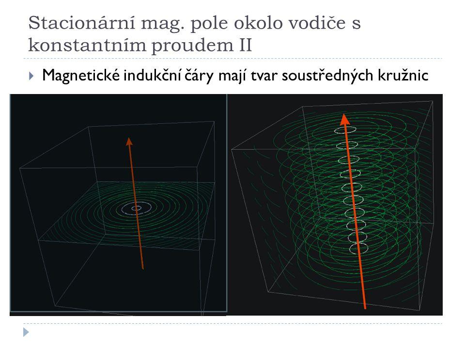 Stacionární mag. pole okolo vodiče s konstantním proudem II