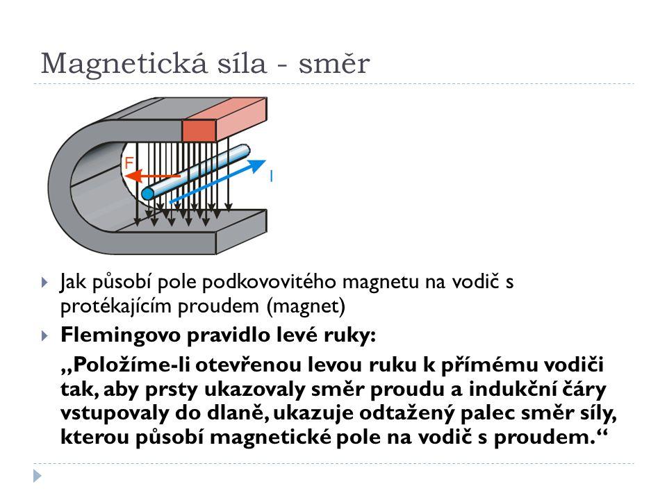 Magnetická síla - směr Jak působí pole podkovovitého magnetu na vodič s protékajícím proudem (magnet)