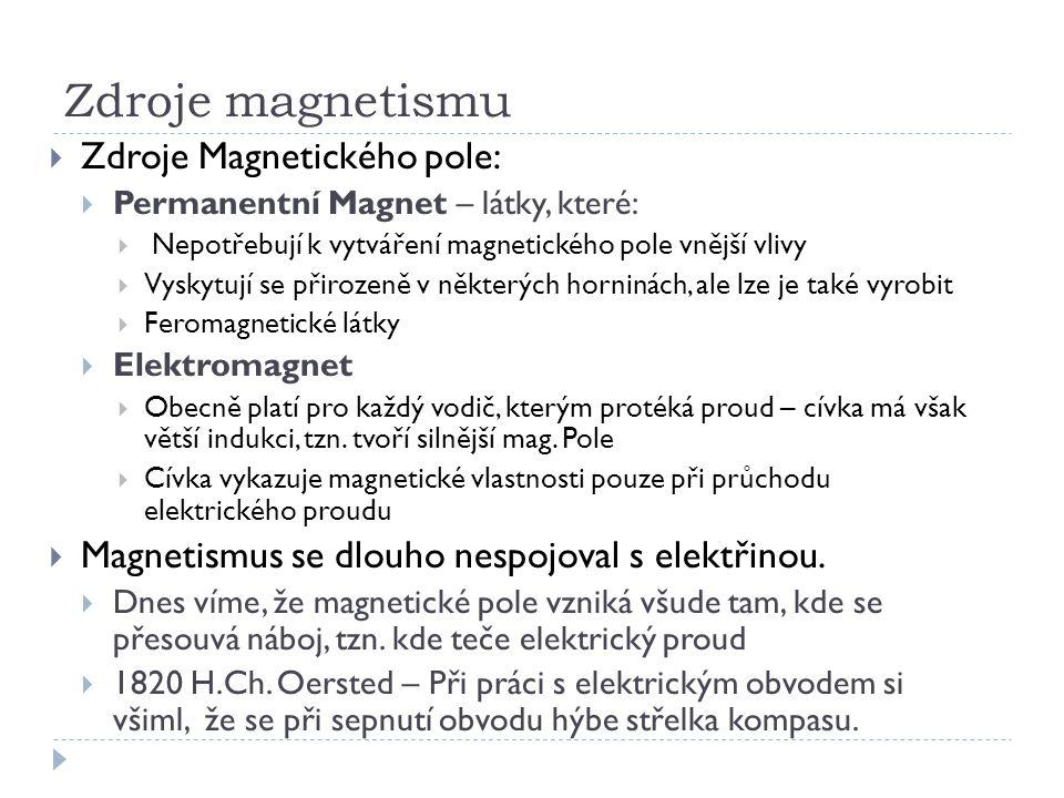 Zdroje magnetismu Zdroje Magnetického pole: