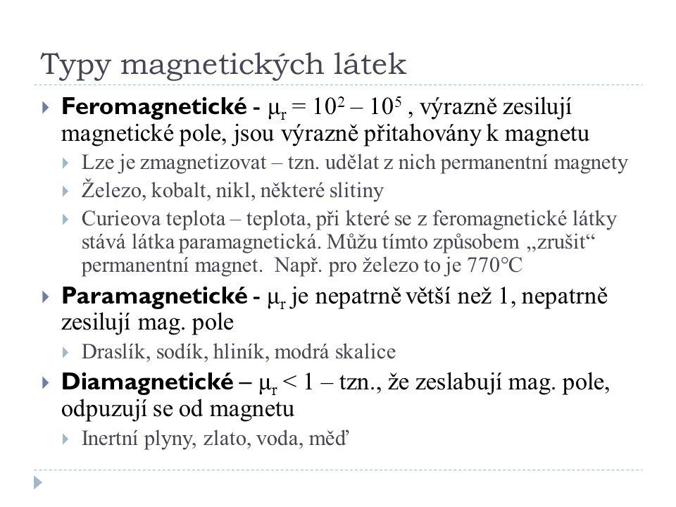 Typy magnetických látek