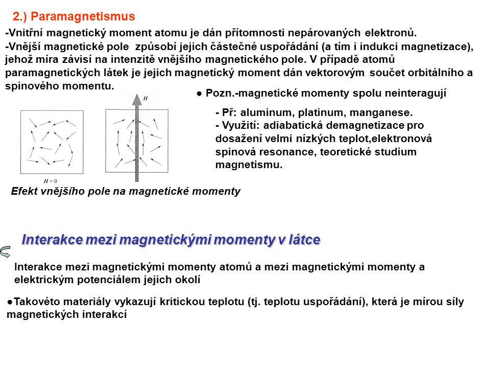 Interakce mezi magnetickými momenty v látce