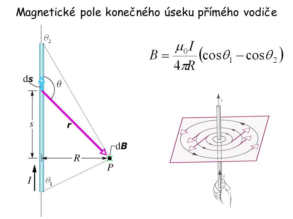 Magnetické pole konečného úseku přímého vodiče